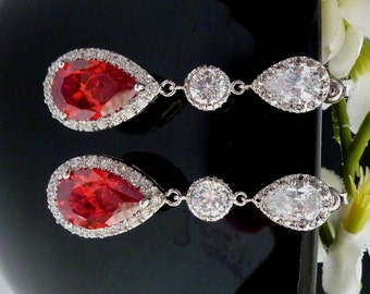 Wedding Bridal Earring LARGE Halo Red Peardrop Cubic Zirconia with Round CZ White Gold Plated  CZ Post Earrings