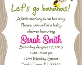 Monkey Baby Shower Invitation Template  - GIRL OR BOY