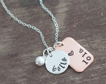 Hand Stamped Name Charm Necklace Mixed Metal Custom Jewelry