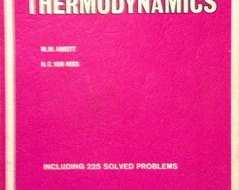 Vnitage Science Text Book 'Schaum's Outline Series: Theory and Problems of Thermodynamics' by M. M. Abbott 1976