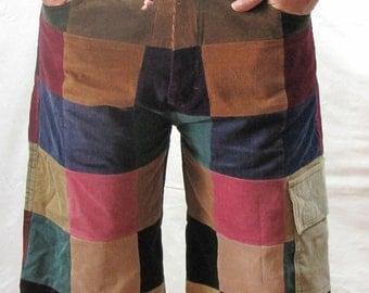 Women's Full Patchwork Corduroy Shorts Size 8 / 10
