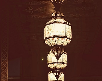 Moroccan Lanterns Photo, Travel Photography, Mysterious, Romantic, Modern, Dreamy, Floral Pattern, Wall Decor - In The Mood for Love