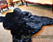 Plush Faux Fur - Black Mountain Bear Skin Pelt Rug - Realistic - Life Size Accent Rug - Shaggy Thick Black
