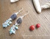 Wire Weaved Iolite and shades of blue dangling earring-EG316-Ashlyn
