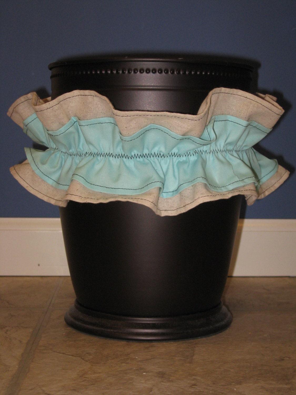 Trash can waist basket bath bathroom accessories ruffle custom for Basket bathroom accessories