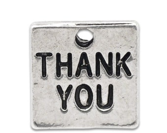 50 Thank You Charms - WHOLESALE - Antique Silver - Double Sided - 12x12mm - Ships IMMEDIATELY from California - SC815a