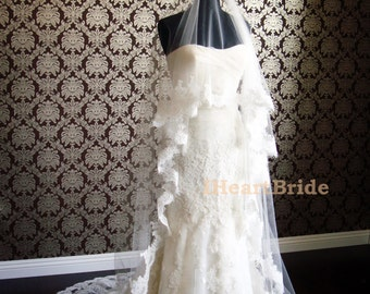 """Short Blusher Lace Silk Tulle Couture Drop Veil with Eyelash Lace by IHeartBride V-MA72 Eliana 72"""" Width Silk Tulle Bridal Veil White Ivory"""