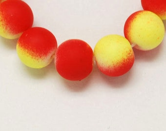 10 10mm red and yellow round rubberized style glass beads -  10 pieces (1142) - Flat rate shipping