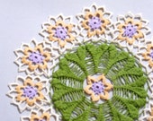 Orange and purple flower decorative round crochet doily