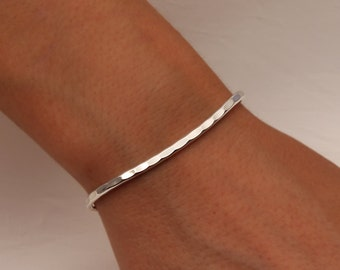 Hammered Cuff Bracelet, Sterling Silver (351.s)