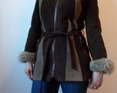 vintage 1970s Suede coat with SHEARLING collar and cuffs- 70s