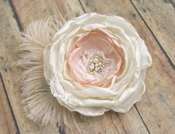 Vintage Style Wedding Flower Hairpiece, Feather Flower Fascinator, Bridal Hair Accessory, Ivory, Cream, Beige, Champagne, Lace, Pearls