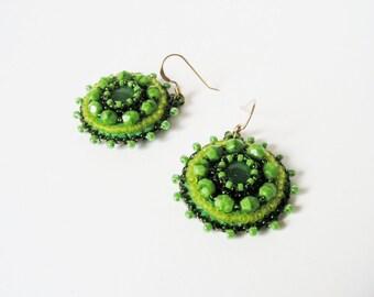 Green Beaded Earrings Bead embroidery Earrings Beadwork Earrings Green dangle Earrings MADE TO ORDER