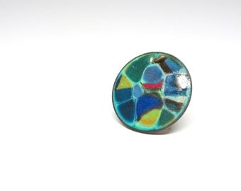 Vintage Pendant Colorful Enameled Round Copper Disc