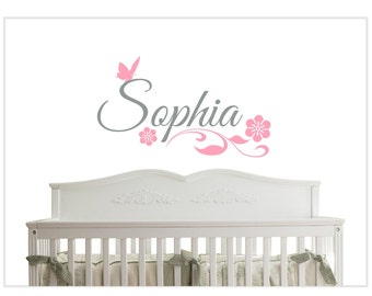 Baby Girl Name Teen Tween with Flowers & Butterfly Wall Decal Wall Decor NM-105