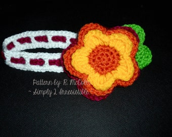 The Fleur Headband - Crochet Pattern 61 - US and UK Terms - Newborn to Adult - Instant DOWNLOAD