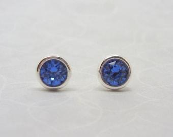 Silver Birthstone Ear Studs - September Solid Sterling Silver 925 Sapphire Blue Swarovski Crystal Earrings