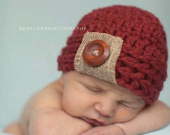 baby hat, boys hat, newborn boy hat, newborn hat, crochet boys hat, little boys hat, baby boy hat, crochet baby hat, burlap baby hat