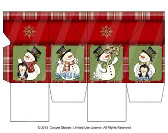 Digital Printable Christmas Milk Carton Snowman Theme 2