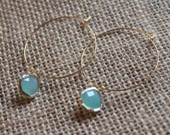 Aqua Blue Hoop Earrings in Gold, Hoop Earrings, Gold Hoops, Blue Hoops, Drop Earrings, Light Blue Earrings
