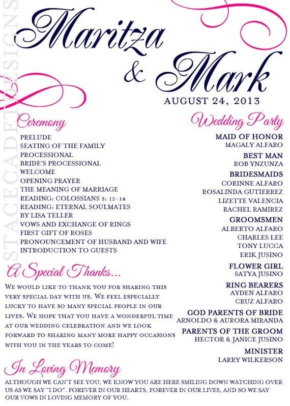 Items Similar To Custom Printable Wedding Program Digital File On Etsy