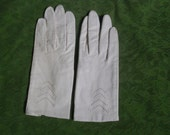 Vintage Leather Gloves Ivory Winter Ehite Women's Size Small Made in Japan
