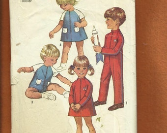 Vintage 1969  Simplicity 8472 Star Trek Chic Dresses Jumpsuit & Romper for Wee Little Kids  Size 2