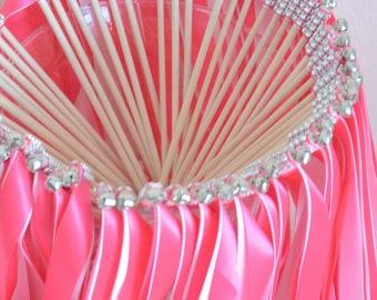 Chic Wedding Ribbon Wands-send off/party steamers set of 50 double ribbon wands with rhinestones and bells
