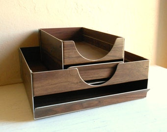 Pair of Vintage Faux Bois Metal Desk Organizers Trays Drawers