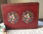 Burgundy Cookie Tin from England, English Biscuit Tin with Roses, Metal Box with Roses