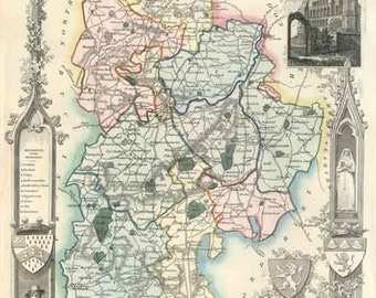 Bedfordshire 1837. Antique map of the County of Bedfordshire, England  by Thomas Moule - MAP PRINT