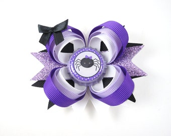 Purple and Black Halloween Hair Bow - Halloween Hair Clip - Spider Hair Bow - Purple Hair Bow - Black Hair Bow - Halloween - Hair Bows