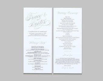 Elegant Script Wedding Double Sided Wedding Program - Custom Printable PDF