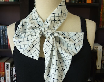 Stylish retro NECK SCARF scarflette neck-kerchief. Blue, Green and White checks. Multiple ways to wear. Perfect gift.