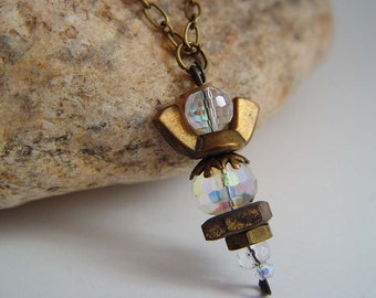 Antique Bronze and Clear Iridescent Beaded Wing Nut Angel Necklace