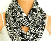 Woman scarf with chevron striped shades of black, for her, infinity scarves for womanInfinity Scarf, Circle, Loop Scarf, Chevron