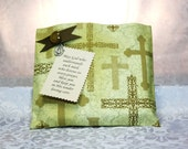 Brown & Gold Crosses Prayer Pocket