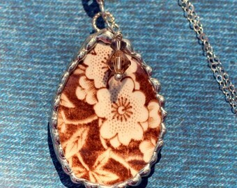 Broken China Jewelry, Teardrop China Pendant Necklace, Brown Floral Chintz, Sterling Silver Chain