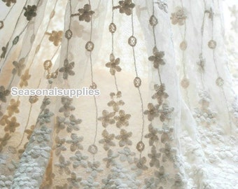 1 yard OffWhite Lace Fabric,Bridal,White Color,Floral,Embroidery,Sewing,Fabric (W66)