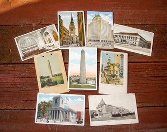 Early 1900s Boston, Massachusetts Postcard Collection Lot of 9 Antique Vintage Postcards of Boston Landmarks