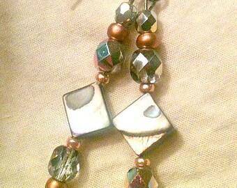 Crystal & River Shell Beaded Earrings