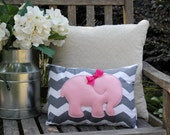 Pink Elephant Pillow - Grey Chevron -  Nursery Accessories, Girls Room, Baby Shower Gift, Home Decor, Accent Pillow 12x16 - AMartinsNest