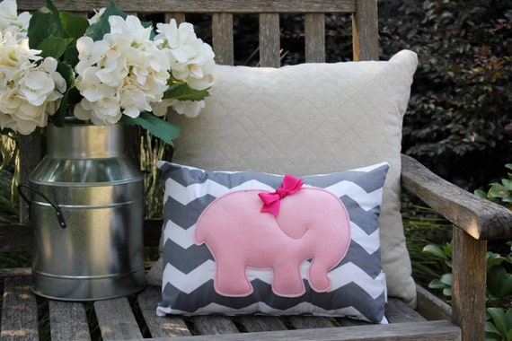 Items Similar To Pink Elephant Pillow Grey Chevron