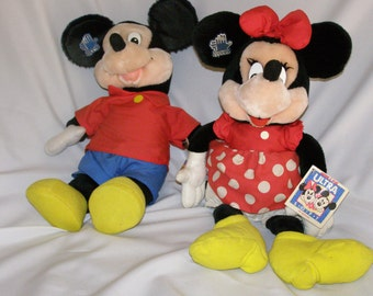 """Applause DISNEY Large 15"""" Plush Mickey Mouse Stuffed Toy Doll Red Shirt & Minnie Mouse 17"""" Red Polka Dot Dress Plush Toy"""