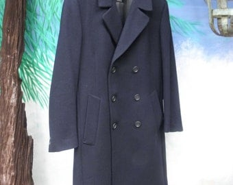 Pierre Cardin Couture Men's Navy Blue Wool Double Breasted Vintage Coat, Outerwear