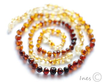 Baltic Amber Baby Teething Set for Baby and Mommy Rainbow Color Rounded Beads