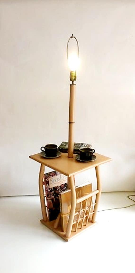 glenda table floor lamp built in magazine rack peach wood floor lamp. Black Bedroom Furniture Sets. Home Design Ideas