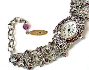 Silver Wrist Watch Swarovski Bracelet Watch Unique Women Watches Victorian Gothic Watches Beaded Watches Vintage Style Watch Gothic Jewelry