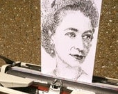 50 Foot Queenie, (Queen Elizabeth II) Typewriter Art Greetings Card by Keira Rathbone