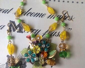 Layered Rhinestone Enamel Flower Amber Garden Glass Beaded Necklace & Earrings Set Ooak Handmade